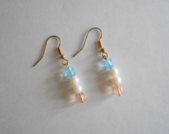 Pink Beads Earrings Blue Beads Earrings Pink Earrings Blue Earrings White Pearl Earrings Pierced Earrings Dangle Earrings Gold Tone Findings
