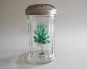 Palm Trees Sugar Pourer Handpainted Clear Glass Bottle Jar Dispenser Palm Trees Kitchen