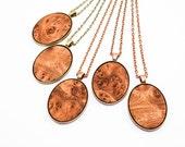 Wood Veneer Oval Pendant (Elm Burl on Copper or Brass)