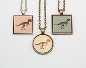 T-Rex Skeleton Pendant - Laser Engraved Wooden Cameo (Custom Made / Any Color)
