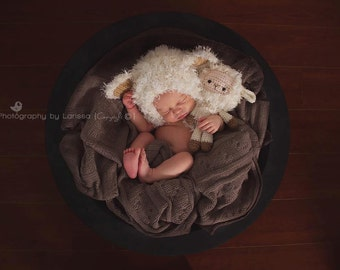 Newborn Bonnet and Teddy Set Photo Prop Little Lamb Easter Photography Prop Made To Order.Wait time two weeks.Ships from Australia