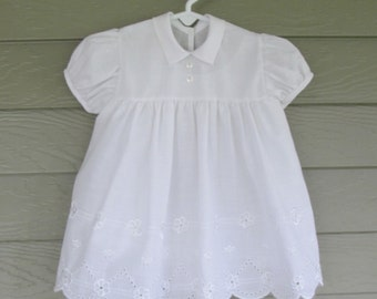 Baby Girls Little White Eyelet Dress with full slip  - Approx. 9 mos.