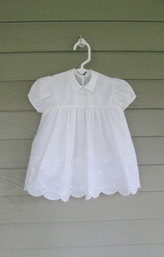 Baby Girls Little White Eyelet Dress with full slip Approx