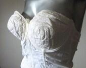 Vintage Off White Jantzen Strapless Eyelet Corset Bustier Bra Size 38C