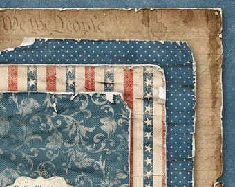 FOREVER FREE - Worn & Torn - Digital Scrapbooking Papers - 4 Papers - 12 x 12 Inches -  Perfect for adding layers to your layouts -3.00