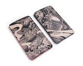 Leather iPhone 6 Case / iPhone 5s Case / iPhone 5 case / Galaxy S6 Case / Smartphone Case - Tattoo Tiger & Tattoo Dragon (Exclusive design)