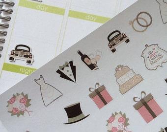Wedding Stickers, Planner Stickers, Fits Erin Condren Planner & Other Planners