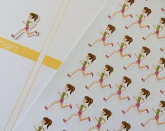 Planner Stickers Girl Jogger Planner Stickers Fits Erin Condren Kikkik Plum Paper