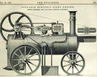 1878 English Antique Engraving of a Portable Electric Light Engine
