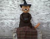 Minerva The Witch A Primitive Spooky Halloween Black Cat Folk Art Doll