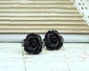 Black Rose Studs Rose Earrings Black Stud Earrings Flower Earrings Black Rose Earrings Hypoallergenic