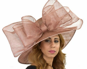 Mink Beige Magpie Hat for Kentucky Derby, Weddings (40 colours available)