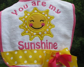 you are my sunshine  birthday bib, 1st birthday bib, smash cake bib, 2nd birthday bib