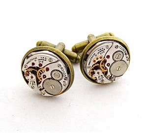 Watch movements - Steampunk - Cufflinks - Cuff Links -Repurposed - Up cycled