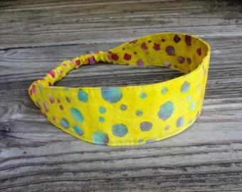 Fabric Headband with Elastic: Yellow Batik