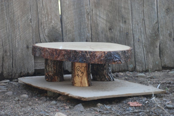 "18"" Rustic Wood Tree Slice Cake Pedestal for your Wedding, Valentine's Day, or Party"