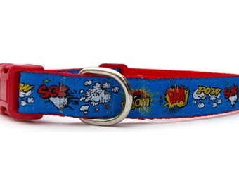 Comic Dog Collar, 2cm or 3/4 inch wide, Extra-Small, Small, Medium, or Large, Cartoon Collar with Bam Pow Boom Sok, Small Dog Collar