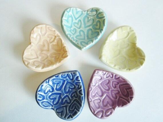 Items Similar To 3 Wedding Favors Bridal Shower Favors Handmade Ceramic Heart Dishes On Etsy