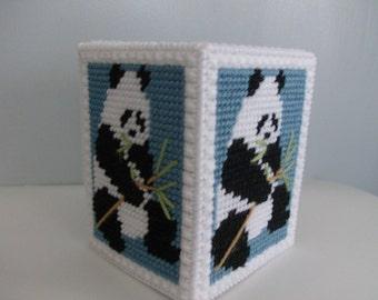 Panda Bear Tissue Box Cover, Needlepoint Panda Tissue Box Cover, Plastic Canvas Panda Tissue Box Cover