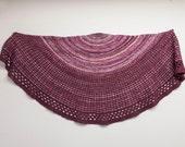 Luminosity Japanese Maple Handspun Shawl, Hand knit shawl, Red Purple, Merino and Cashmere, Silk and Wool, Pink Purple Mauve Orange