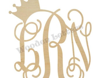 Wooden Monogram with a Crown Topper