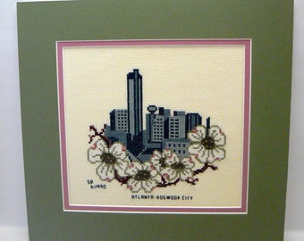 Cross Stitch Picture Atlanta Dogwood City Double Matted Green Pink Completed cross stitched picture city of Atlanta