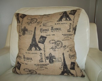 Burlap Pillow Cover ~ French Country Pillow Cover ~  18 x 18 ~ Shabby French Decor ~ Paris Pillow Cover