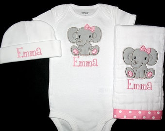 Custom Personalized Applique GIRL ELEPHANT and NAME Bodysuit, Burp Cloth, and Hat Set - Light Pink and Gray