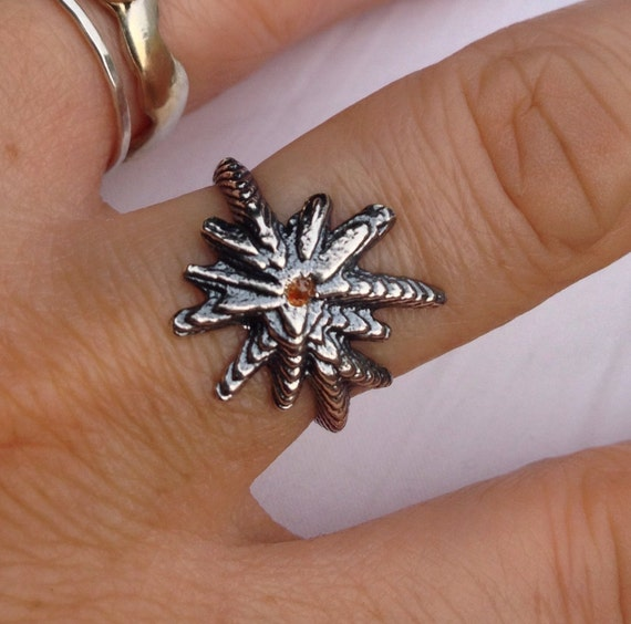 Sterling Silver and Red Diamond Starburst Rings