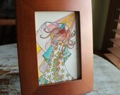 """Original Framed Watercolor 4"""" x 6"""" Whimsical Wizard"""