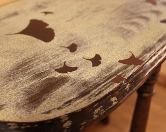 Hand painted Furniture Gingko Demilune Table