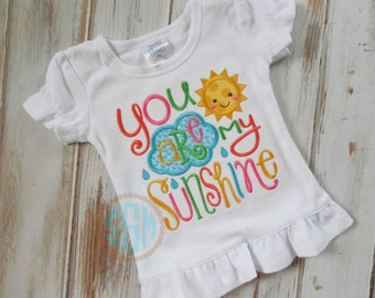 You Are My Sunshine Applique Ruffle Shirt or Bodysuit, Sunshine Shirt, Summer Shirt