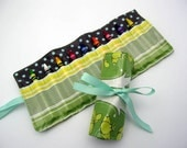Crayon Roll Up - Wipeable Laminated Cotton - Color Roll  - Green Lilies