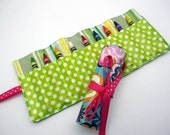 Crayon Roll Up - Wipeable Laminated Cotton - Color Roll - Turquoise Flowers