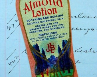 Gorgeous Antique Vintage Cream and Almond Lotion Label