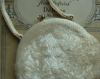 Antique Rare Art Nouveau Exquisite Hand Beaded Purse Bag with Rhinestone closure