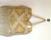 Upcycled Yellow Gold Ikat Diamond Boho Jute Tassel Fringe Brass Horn Beach Bag Tote