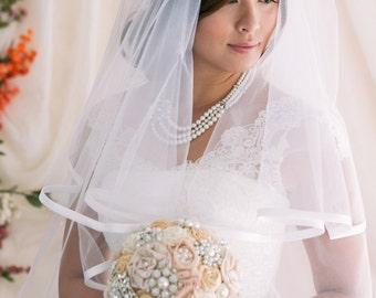 2 Tier Veil with Satin Binding Edge, Bridal Veil, Wedding Veil, Satin Trim Veil