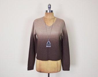 Vintage 90s Brown Ombre Sweater Jumper Top Dip-Dye Tie-Dye Fuzzy Angora Sweater 90s Sweater Grunge Sweater Club Kid Women S Small M Medium