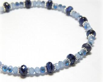 Blue Gemstone Anklet, Blue Lapis Anklet, Crystal Ankle Bracelet, Sterling Silver Anklet Adjustable Anklet for Women