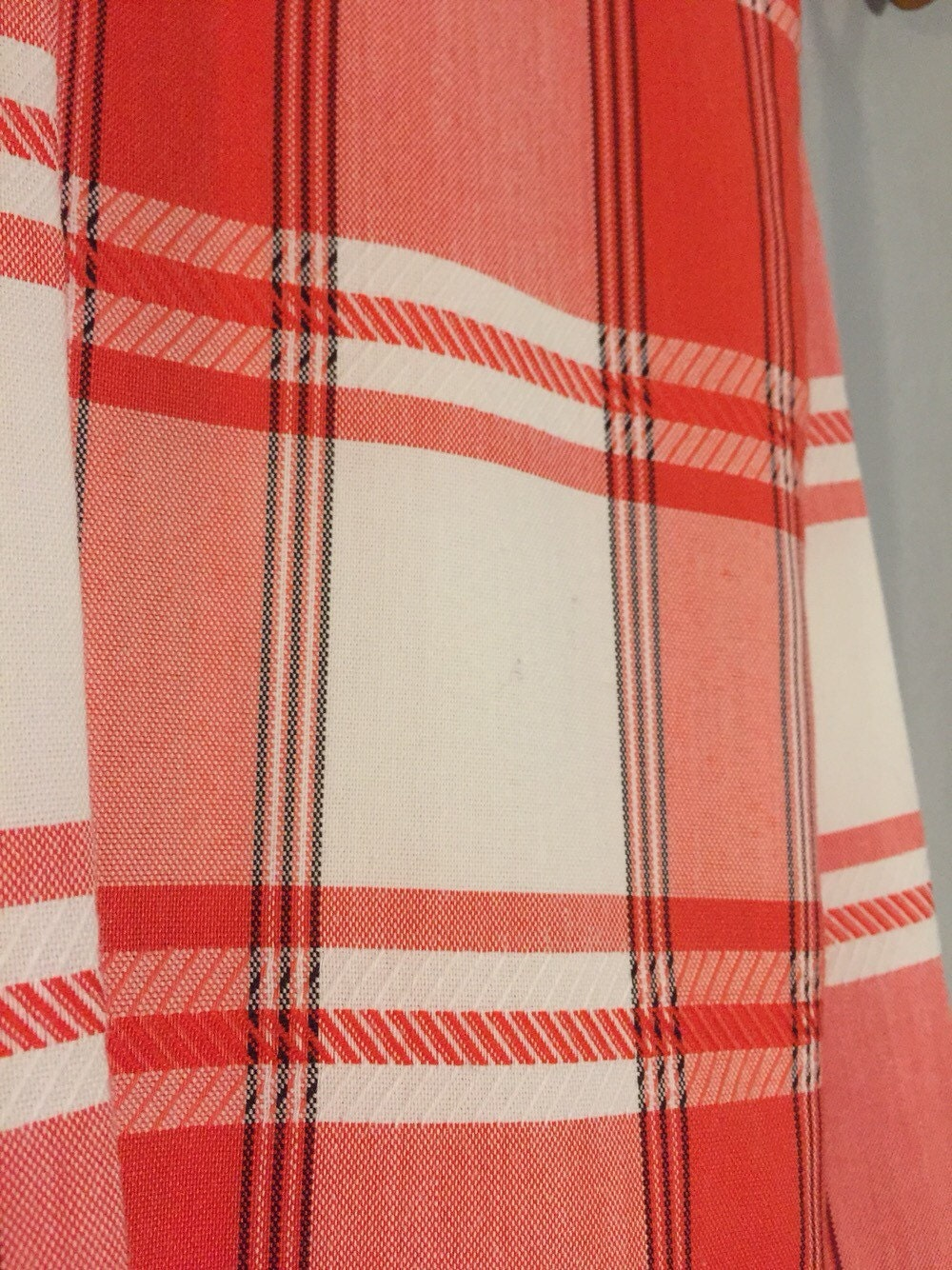 vintage red plaid curtain white black by cliftonsupplycompany