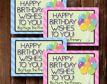 LDS Primary Birthday Cards- (4) 3.5x5 Cards- Instant download