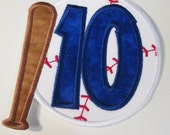 Baseball Bat and Glove Birthday - Iron On or Sew On Embroidered Custom Made Appliques