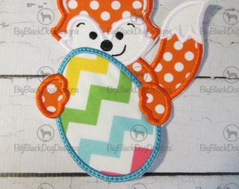 Easter Fox with Easter Egg - Iron On or Sew On Embroidered Applique