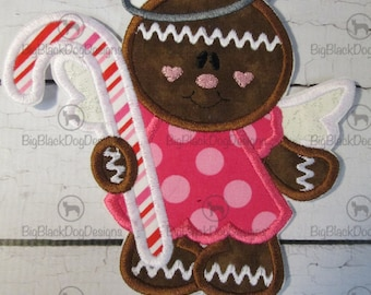 Christmas Angel Gingerbread Girl with Candy Cane - Iron On Embroidered Applique