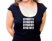 Ladies GEEK Tshirt - (ASCII) Binary Code - American Apparel Scoop Neck - small, medium, large, XL