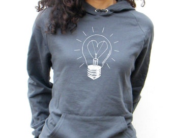 Womens Love Light Sweatshirt  American Apparel California Fleece Pocket Pullover Hoodie - XS, Small, Medium, Large, XL, 2XL