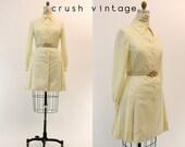 60s Traina Dress Medium - Large / 1960s Vintage Mod Shift Pleated Button Down Dress / Teal Traina Dress
