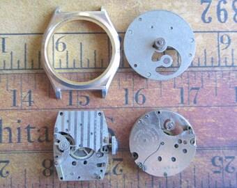Vintage Antique Watch parts - Watch parts - Steampunk - Scrapbooking w74