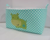 "XXL 18"" x 8"" x 10"" Fabric Organizer Basket Appliqued HIPPO Storage Container Bin Bucket Bag Toy Bin Home Decor- Ocean Dots Cotton Fabric"